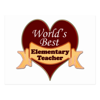World's Best Elementary School Teacher Postcard