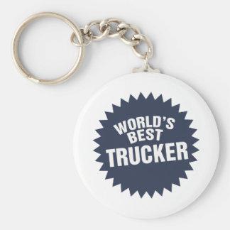 World's Best Trucker Truck Driver Hauler Basic Round Button Key Ring