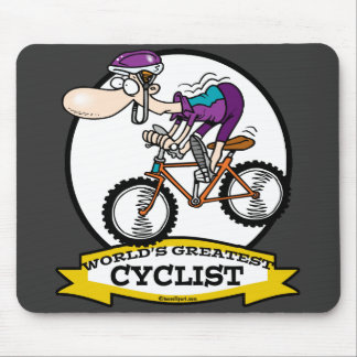 WORLDS GREATEST CYCLIST MEN CARTOON MOUSE PAD