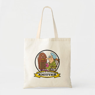WORLDS GREATEST KNITTER CARTOON BUDGET TOTE BAG