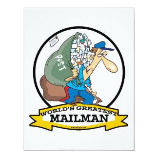 WORLDS GREATEST MAILMAN MEN CARTOON 11 CM X 14 CM INVITATION CARD