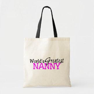 Worlds Greatest Nanny Pink Black Budget Tote Bag