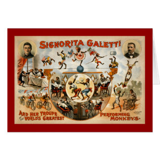 World's Greatest Performing Monkeys 1892 Greeting Card