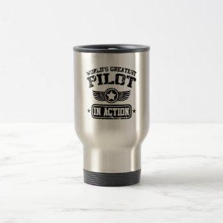 World's Greatest Pilot In Action Stainless Steel Travel Mug
