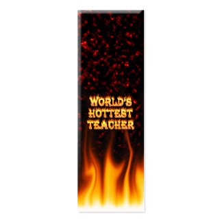 World's hottest Teacher fire and flames red marble Pack Of Skinny Business Cards
