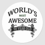 World's Most Awesome 90 Year Old Round Sticker