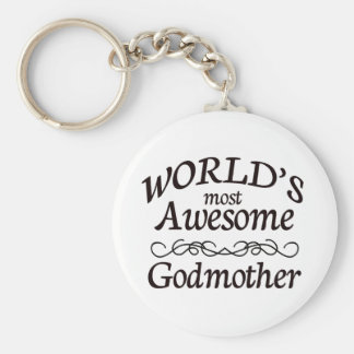 World's Most Awesome Godmother Basic Round Button Key Ring