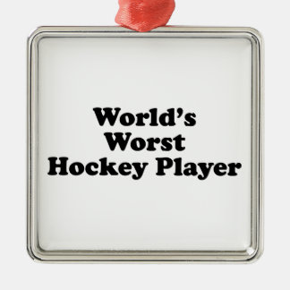 World's Worst Hockey Player Silver-Colored Square Decoration