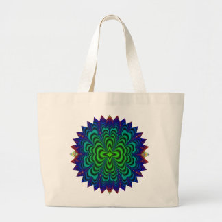 Wormhole Fractal Neon Green Space Tubes Jumbo Tote Bag