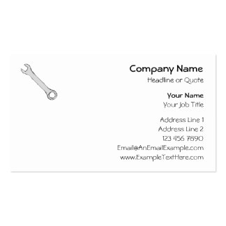 Wrench. Gray and Black. Spanner. Pack Of Standard Business Cards