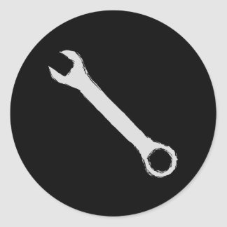 Wrench. Gray and Black. Spanner. Round Sticker