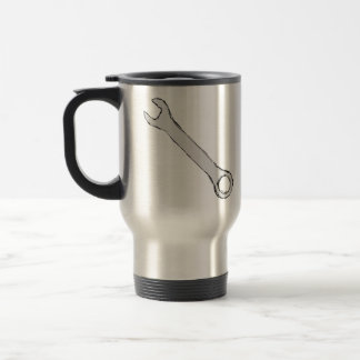 Wrench. Gray and Black. Spanner. Stainless Steel Travel Mug