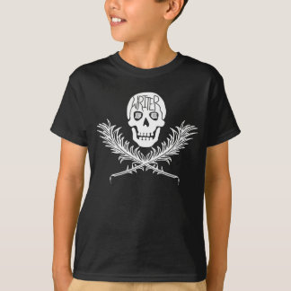 Writer Skull and Crossbones Quills White T Shirt