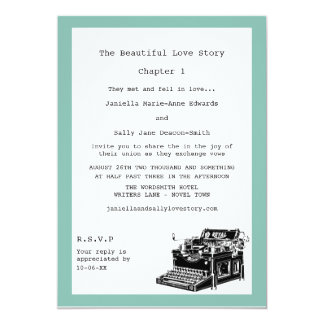 Writer Vintage Typewriter Lesbian Wedding 13 Cm X 18 Cm Invitation Card