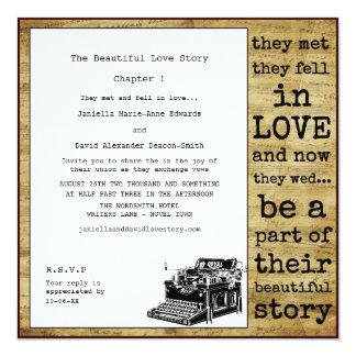 Writer Vintage Typewriter Wedding 13 Cm X 13 Cm Square Invitation Card
