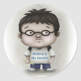 Writing is My Passion Round Sticker