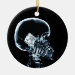 X-RAY SKELETON ON PHONE - BLUE ROUND CERAMIC DECORATION