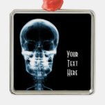X-RAY VISION SKELETON SKULL - BLUE Silver-Colored SQUARE DECORATION