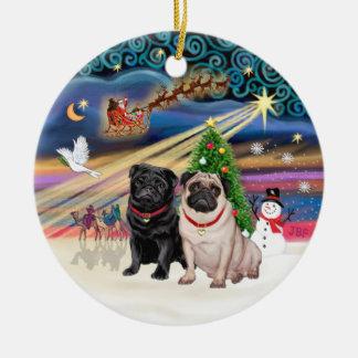 Xmas Magic - Pugs (TWO-fawn+black) Round Ceramic Decoration