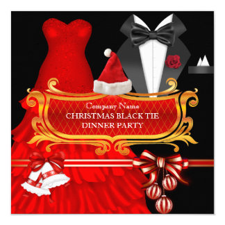 Xmas Red Black Tie Dinner Party Corporate 13 Cm X 13 Cm Square Invitation Card