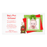 Xmas Reindeer Baby's First Christmas Photo Card