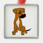 XX- Boxer Mix Rescue Dog Puppy Cartoon Silver-Colored Square Decoration
