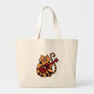XX- Cat Playing Guitar Design Jumbo Tote Bag