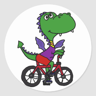 XX- Funny Dragon Riding Bicycle Round Sticker