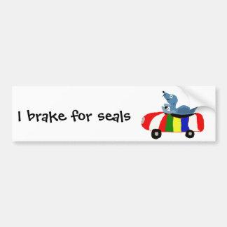 XX- Funny Seal Driving Beach Ball Car Bumper Sticker