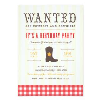 Yeehaw! Cowboy Birthday Party Invitation