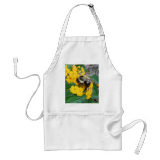 yellow and black Bee on yellow flower Standard Apron