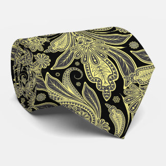 Yellow And Black Vintage Ornate Paisley Pattern Tie