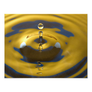 Yellow and Blue Water Drop 11 Cm X 14 Cm Invitation Card
