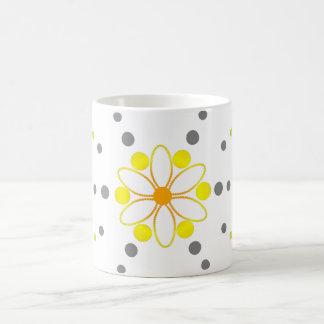 Yellow and grey flowery beads basic white mug