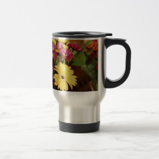 Yellow and Purple and Orange Flowers Bouquet Stainless Steel Travel Mug