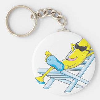 Yellow Banana Relax Sit on Beach Lounge Chair Basic Round Button Key Ring