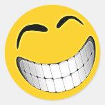 Yellow Big Grin Smiley Face Round Sticker