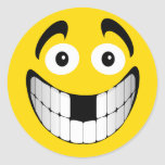 Yellow Big Grin Smiley with Missing Teeth Round Sticker