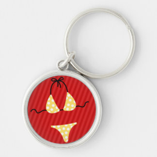 Yellow Bikini on Red Stripe Background Silver-Colored Round Key Ring