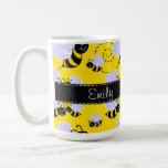 Yellow & Black Bumble Bee Basic White Mug
