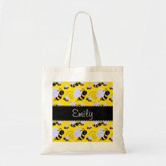 Yellow & Black Bumble Bee Budget Tote Bag