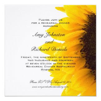 Yellow Black Sunflower Rehearsal Dinner Invitation