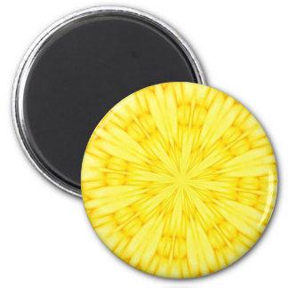 Yellow Blossom Fractal 6 Cm Round Magnet