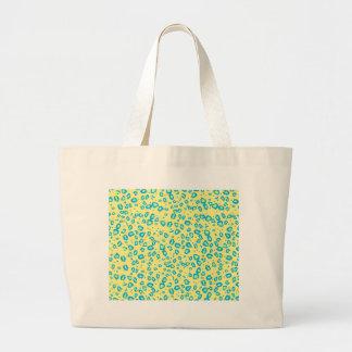 yellow blue lime cheetah jumbo tote bag