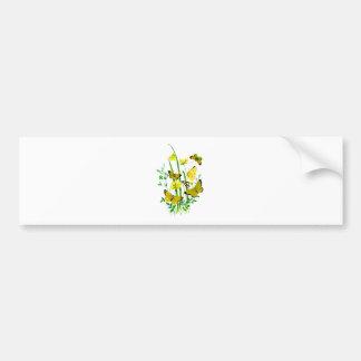 Yellow Butterflies and Yellow Wildflowers Bumper Sticker