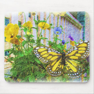 Yellow Butterfly and Viola Flowers Mouse Pad