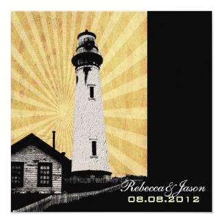 Yellow Coastal Nautical Lighthouse Wedding 13 Cm X 13 Cm Square Invitation Card