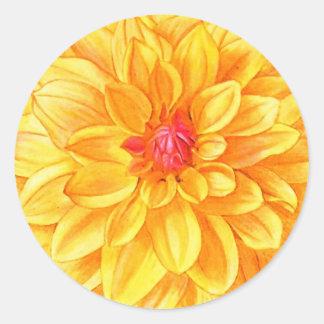 Yellow Dahlia watercolor Round Sticker