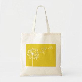 Yellow Dandelion Design Budget Tote Bag