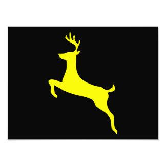 Yellow Deer Silhouette Photographic Print
